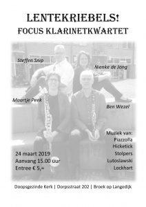 Concert Focus klarinetkwartet @ Doopsgezinde Kerk - Broek op Langedijk